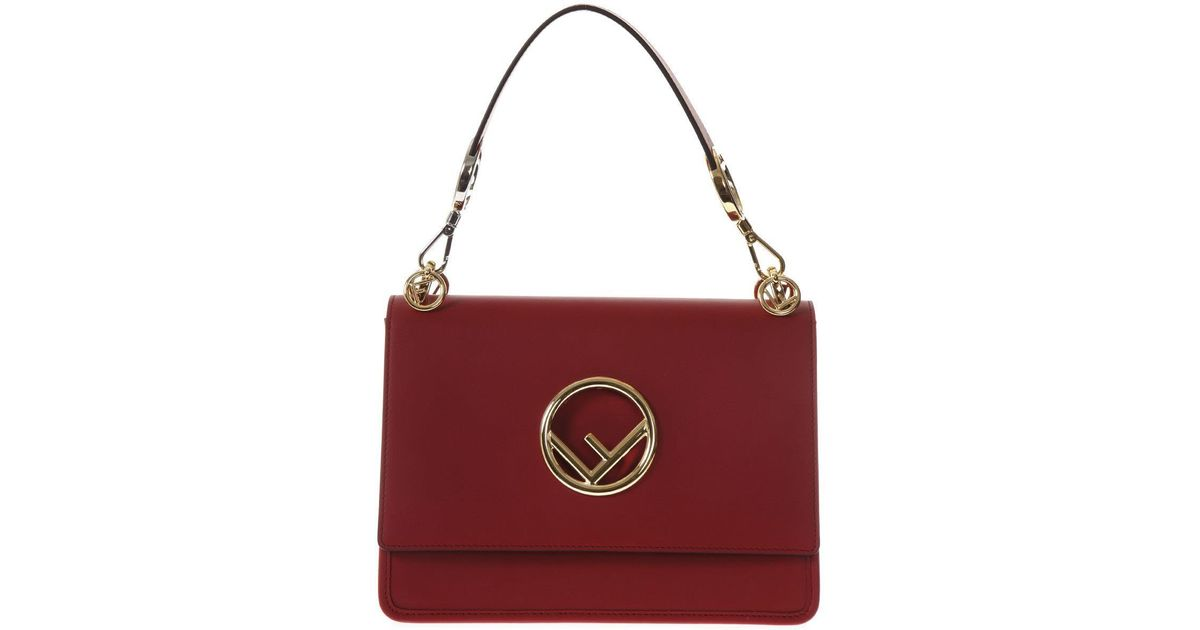 ... promo code fendi kan i f leather top handle bag in red lyst 9aec1 1a460 92e53564d852e