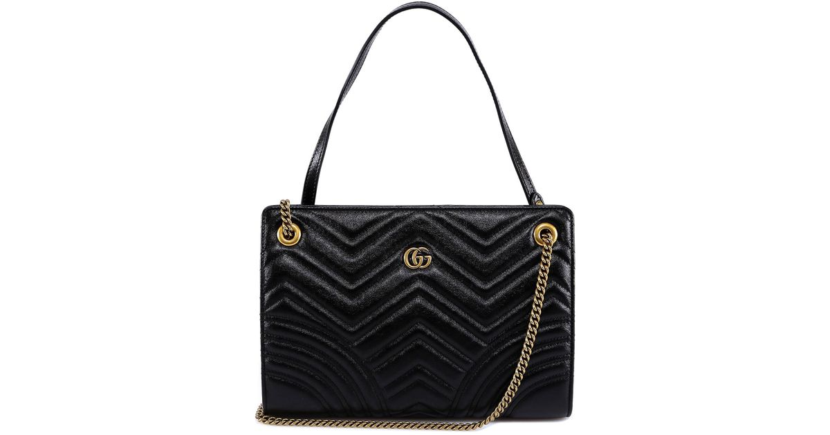 234d932e9209aa Lyst - Gucci Marmont Matelassé Chevron Shoulder Bag in Black
