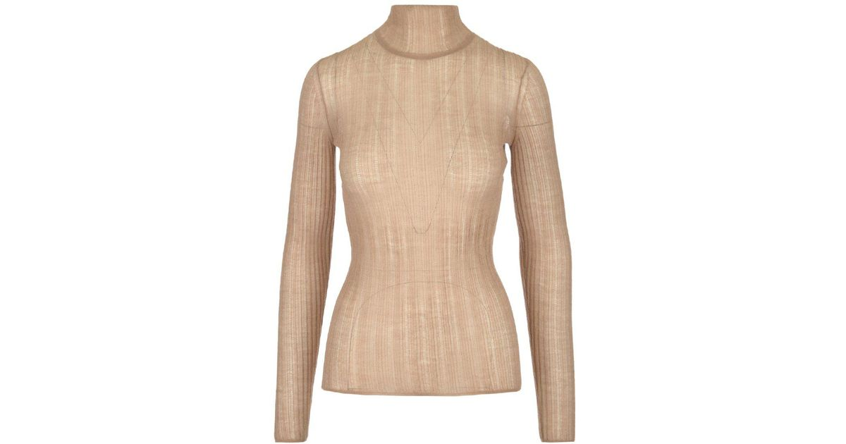 59cdf8ef20d Theory Turtleneck Ribbed Sweater in Natural - Lyst
