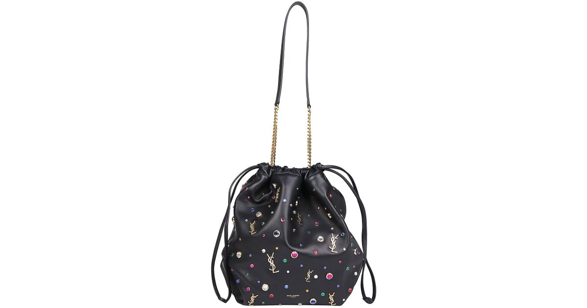 7e90e74161a6 Lyst - Saint Laurent Teddy Embellished Bucket Bag in Black
