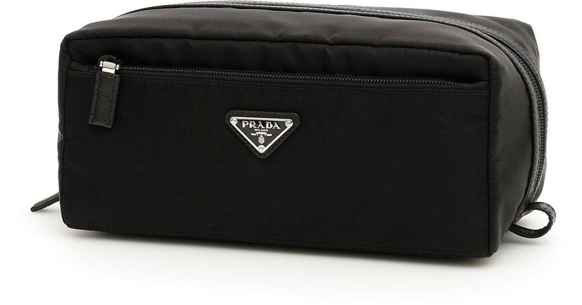 f064d9956e070c Prada Logo Toiletry Bag in Black for Men - Lyst