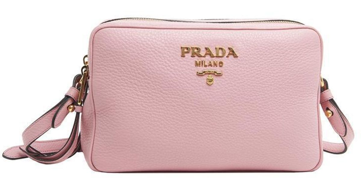 Lyst - Prada Double Zip Shoulder Bag in Pink 80c6315d268c6