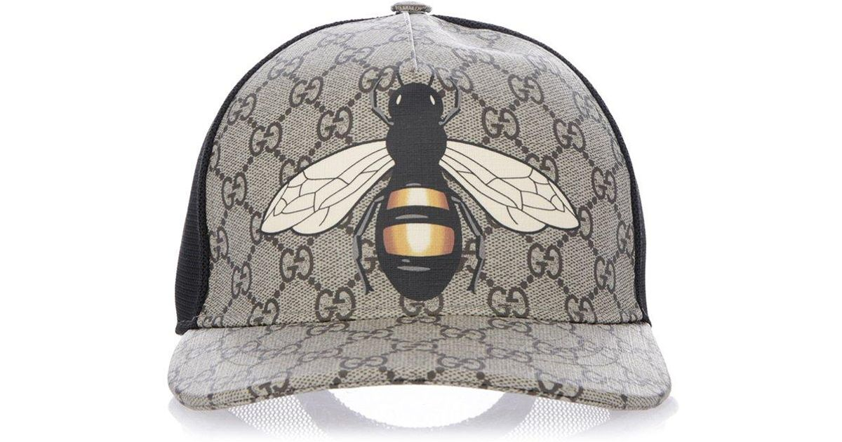 ae46869c9555 Gucci GG Supreme Bee Print Cap in Natural for Men - Lyst