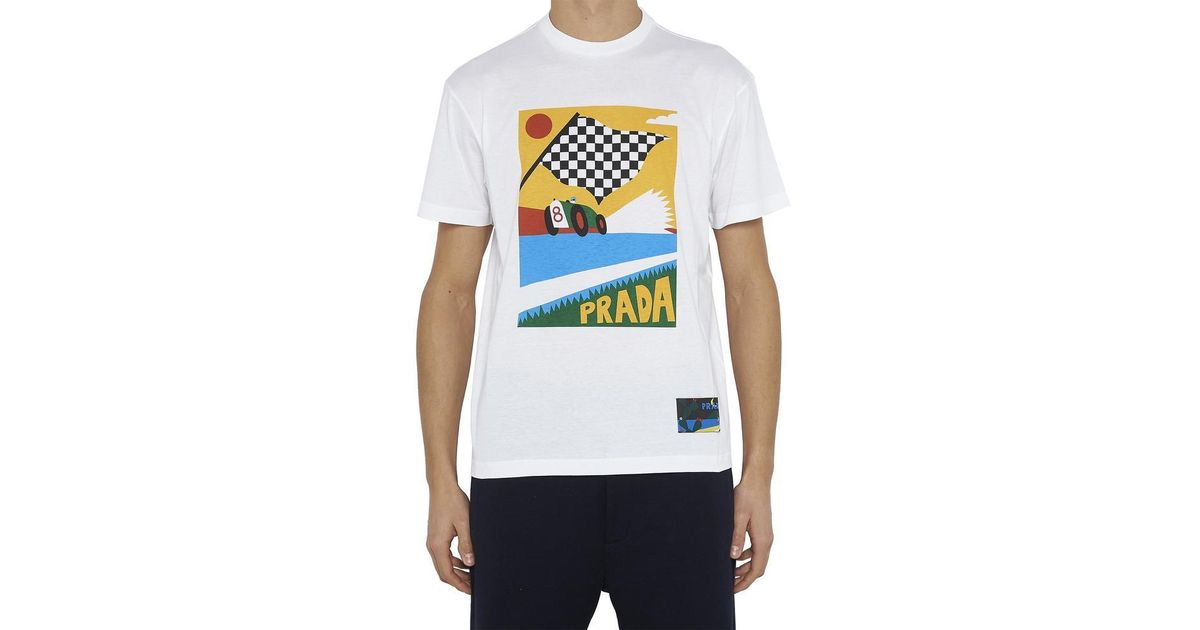 49e99dbbf Prada Racing Car Print T-shirt in White for Men - Lyst