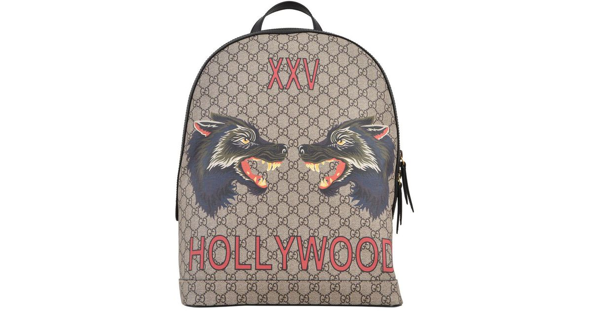 Lyst - Gucci Gg Supreme Wolf Hollywood Backpack in Natural 927db6d0fda3d