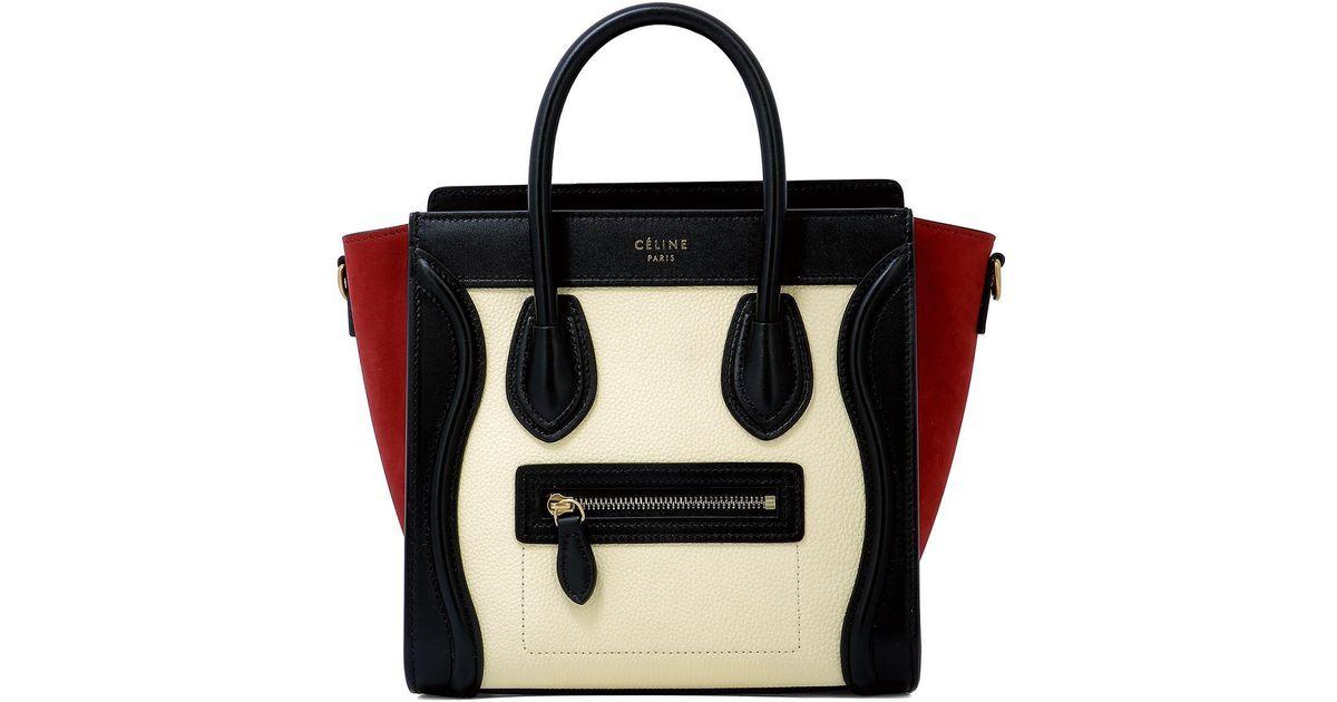 3e1e8b47fa Céline Colour Block Nano Luggage Bag in Black - Lyst