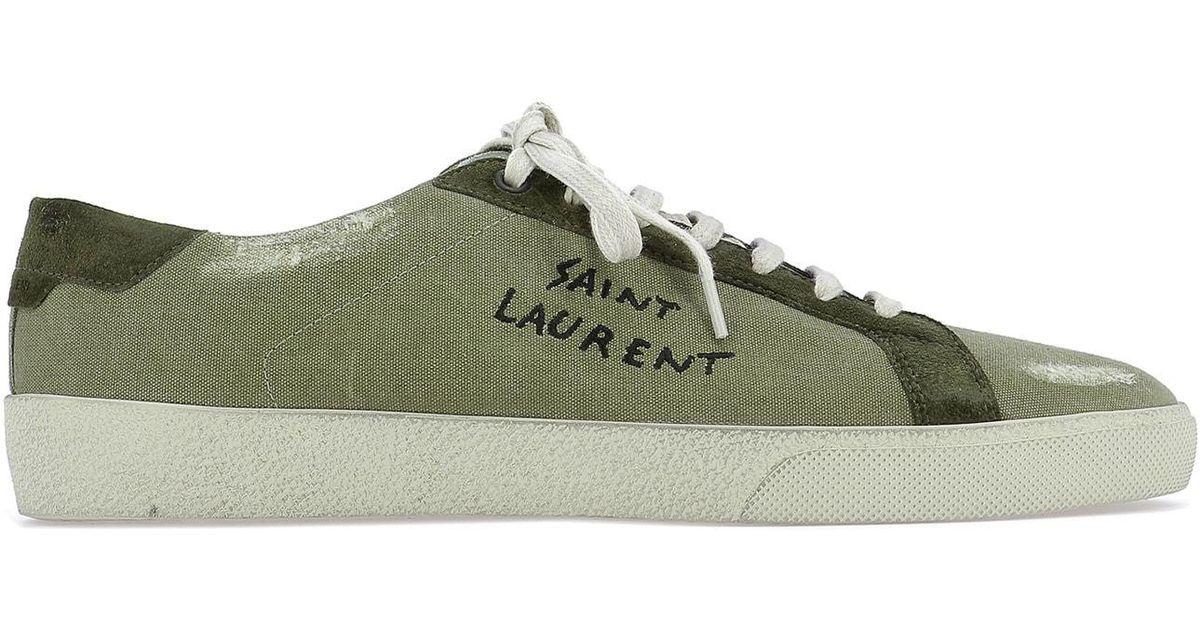 2b02223a347 Saint Laurent Slo6 Low Top Sneakers in Green for Men - Lyst