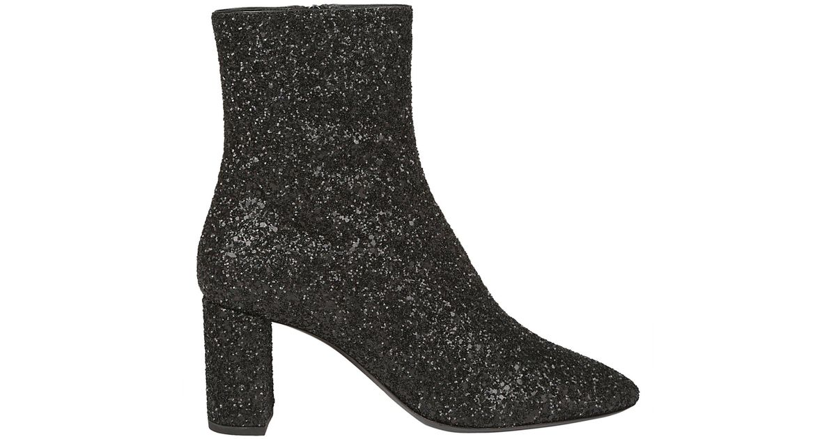 ffba75ef0ee Saint Laurent Glitter Ankle Boots in Black - Save 40% - Lyst