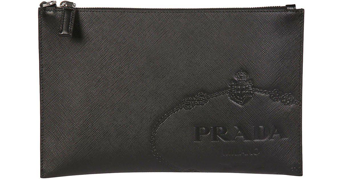 Lyst - Prada Embossed Logo Classic Toiletry Bag in Black for Men 7ca42f570e