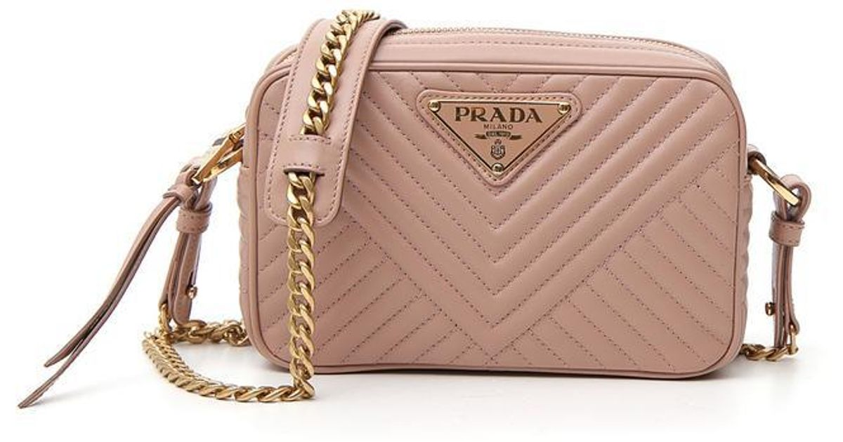 301f35ff01 ... get prada quilted chain shoulder bag in pink lyst c5a88 4719d ...