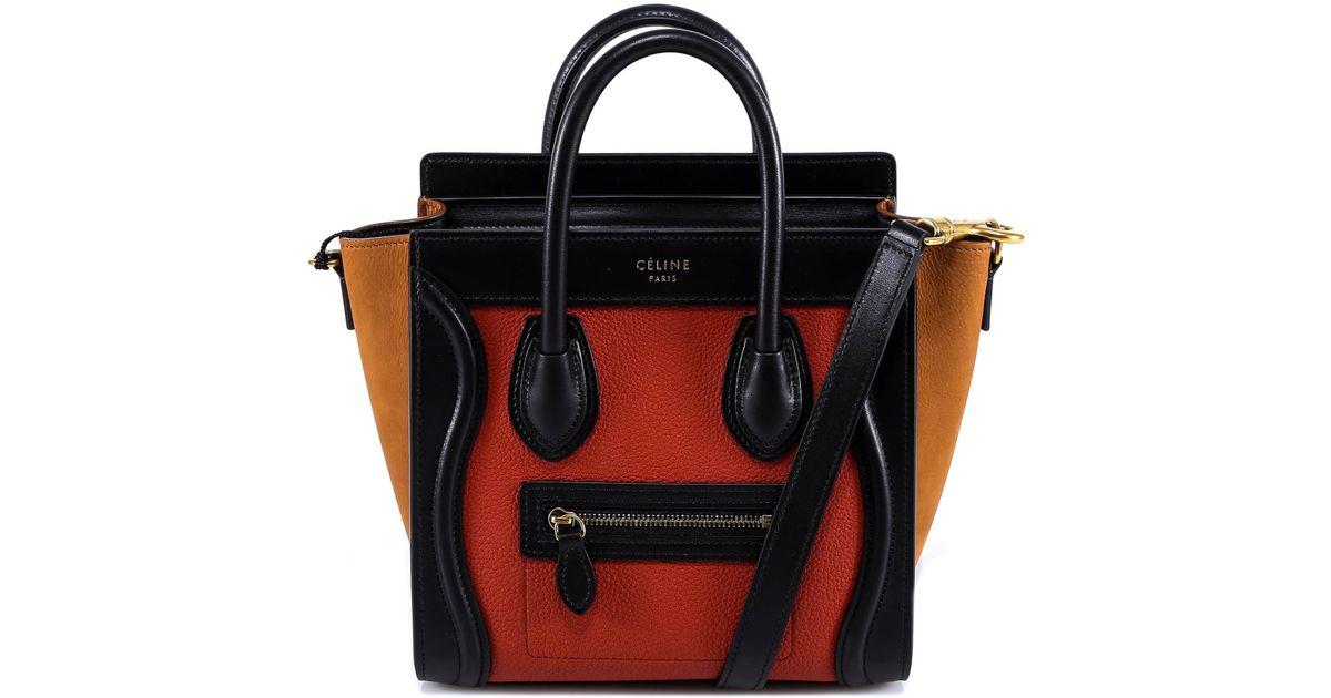 675cef965c86d Céline Colour Block Nano Luggage Bag in Red - Lyst