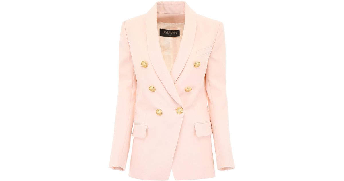 f464a955 Lyst - Balmain Double Breasted Blazer in Pink