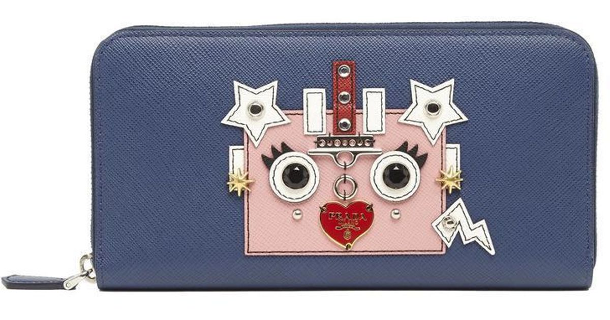 634d368d5329 Lyst - Prada Robot Patch Wallet in Blue