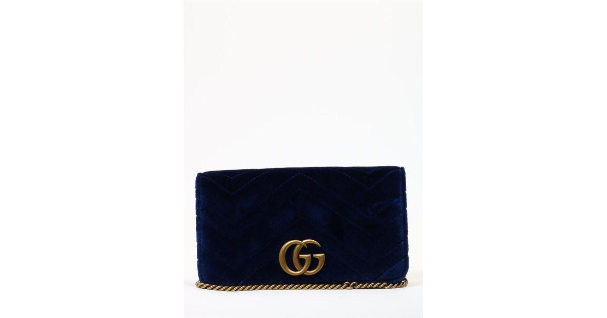 08f940681013 Lyst - Gucci GG Marmont Clutch Bag in Blue