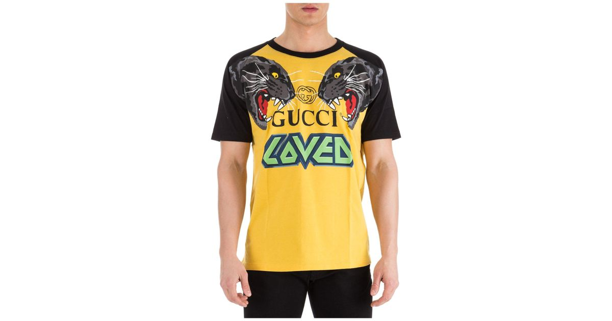 6c960f26 Gucci Tiger Printed T-shirt in Yellow for Men - Save 37% - Lyst