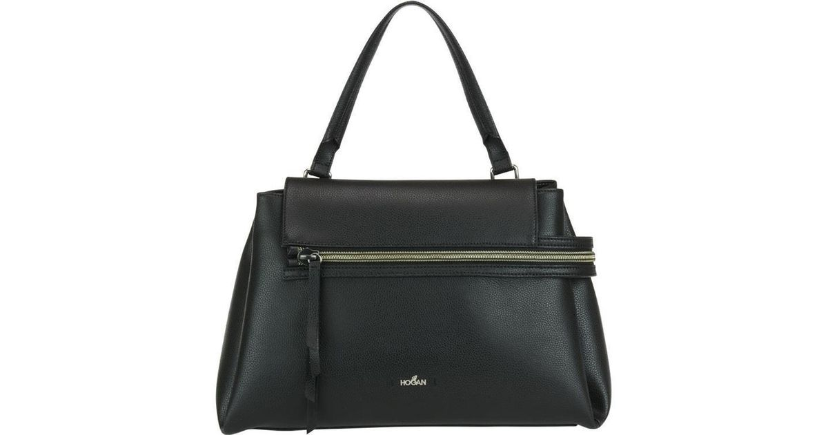 Lyst - Hogan Asymmetric Zipper Tote Bag in Black 1dfc17bd2dd32