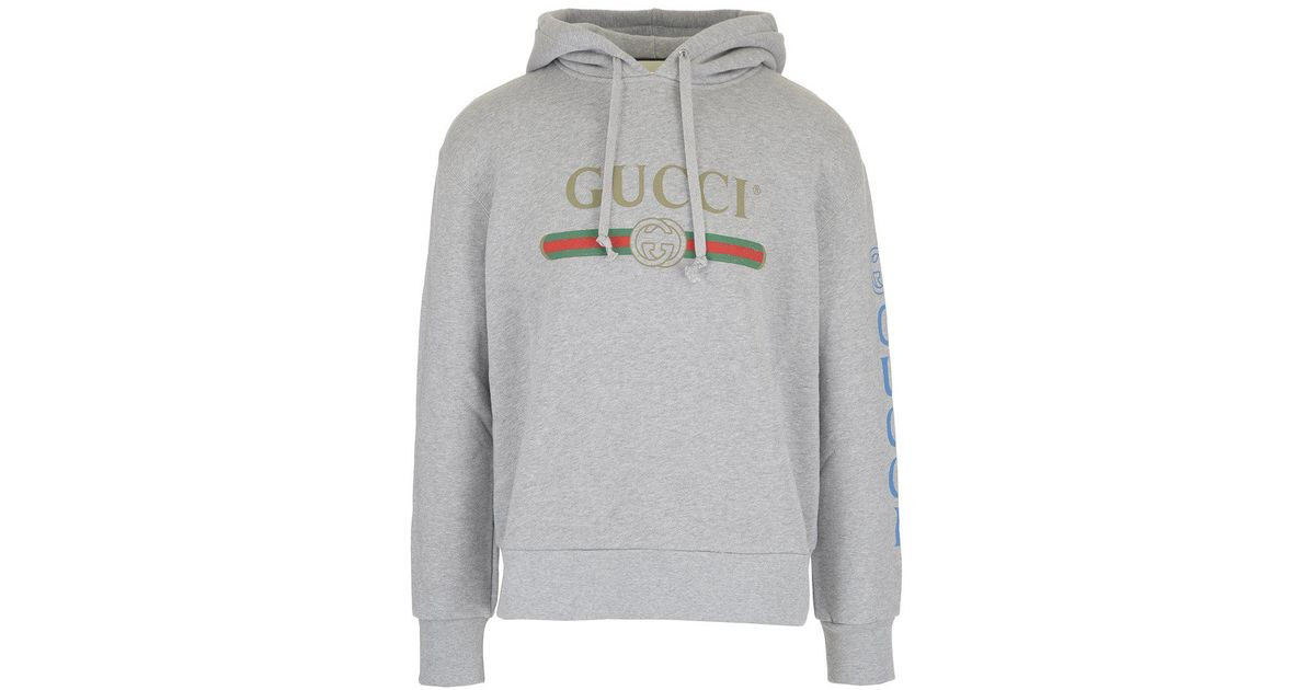 2a0871b13 Gucci Dragon Embroidered Hoodie in Gray for Men - Lyst