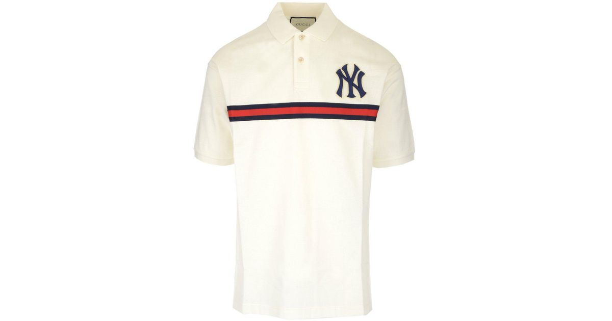 967a8b94 Gucci Ny Patch Logo Polo Shirt in White for Men - Lyst