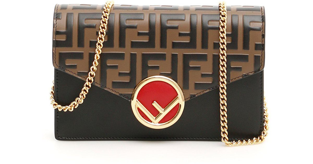 5c3d07aa45 Lyst - Fendi Ff Chain Wallet Bag