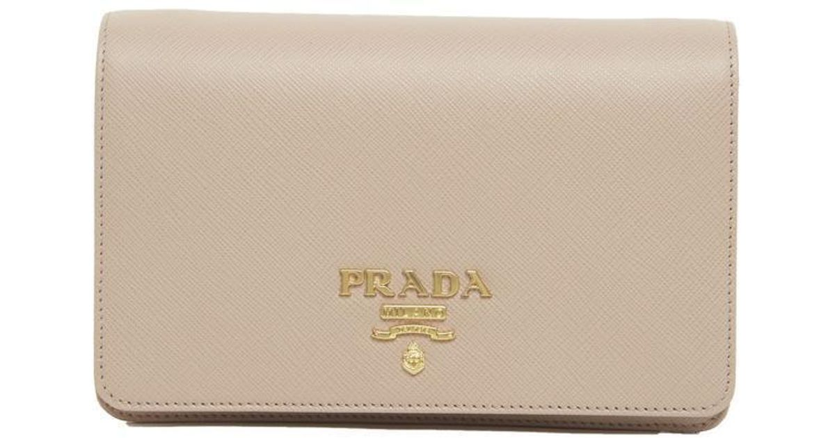 7a13aac8198f Lyst - Prada Chain Strap Clutch Bag in Natural
