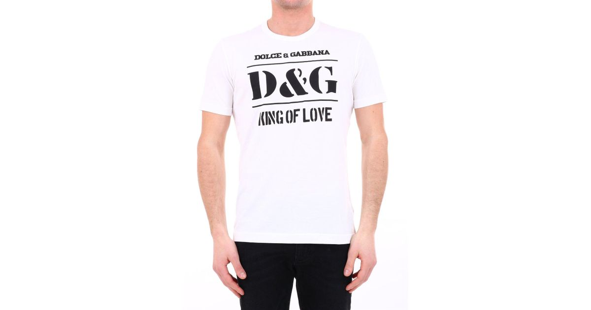 ff55282e6 Dolce & Gabbana Logo Print T-shirt in White for Men - Lyst