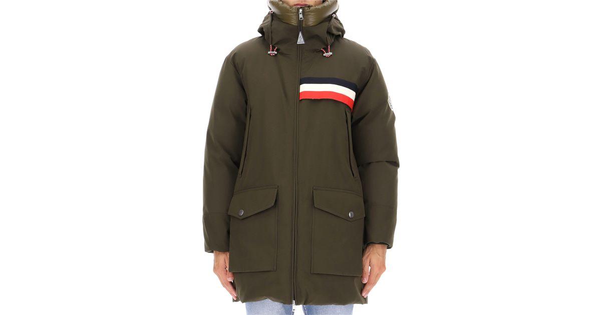 b48864a08 Moncler - Green Celan Signature Three Stripe Detail Coat for Men - Lyst