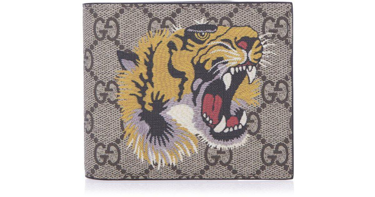 2105681b7ee Lyst - Gucci GG Supreme Embroidered Tiger Billfold Wallet in Natural for Men