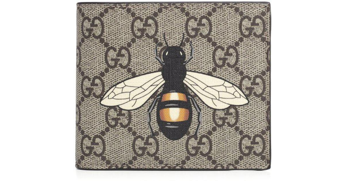 8871658b5fa9 Gucci GG Supreme Bee Print Wallet in Natural for Men - Lyst