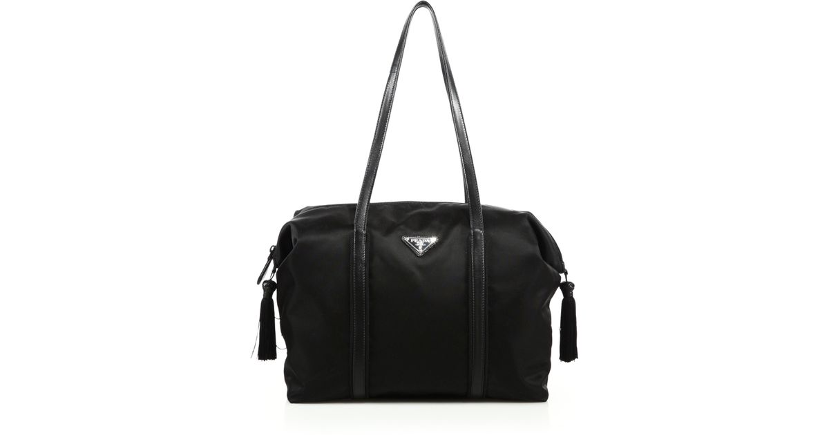 prada nylon and leather tote