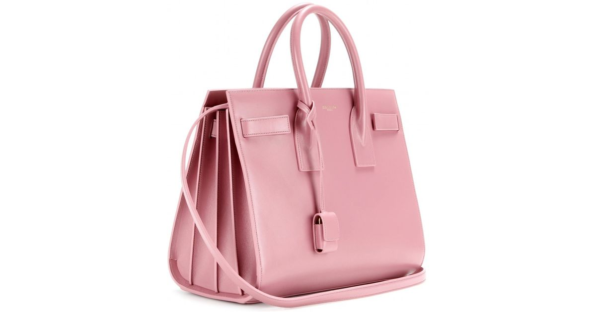 87f03118e6 Saint Laurent Sac De Jour Small Leather Tote in Pink - Lyst