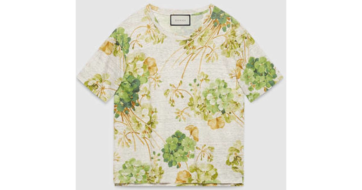 ace85471c95 Lyst - Gucci Blooms Print Linen Jersey T-shirt in Natural for Men
