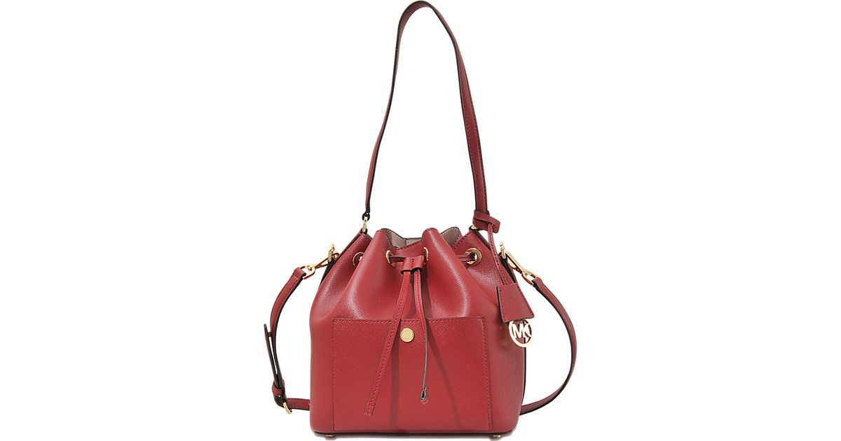 Lyst - MICHAEL Michael Kors Greenwich Medium Bucket Bag in Red 4fe14e41b0583
