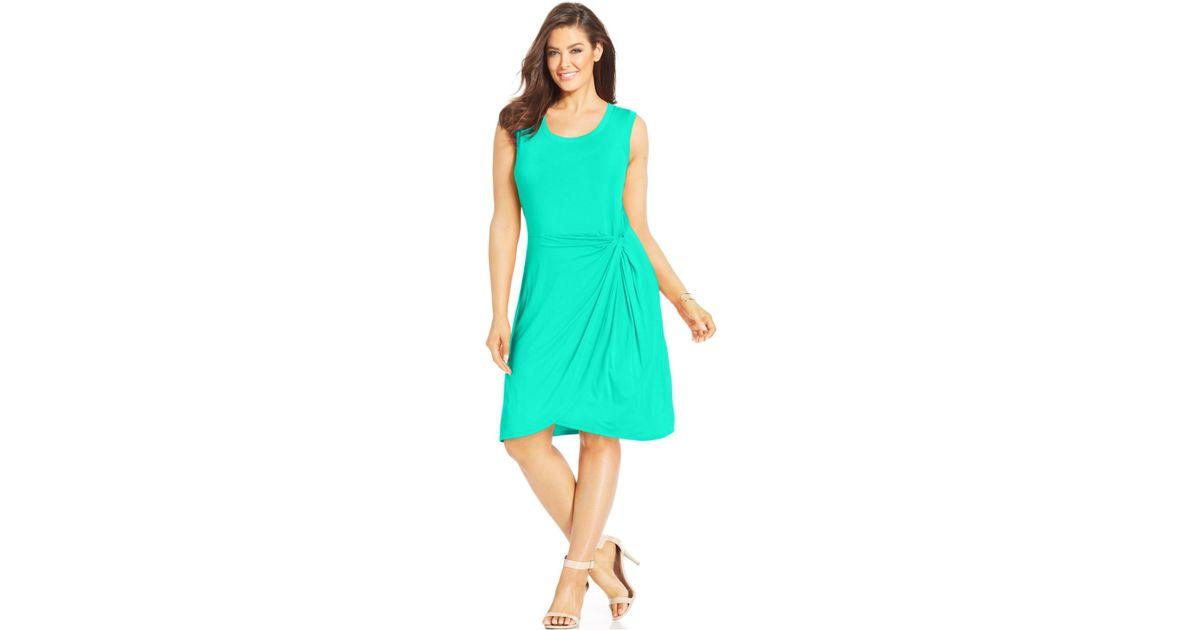 Lyst - Spense Plus Size Sleeveless Faux-Wrap Dress in Green