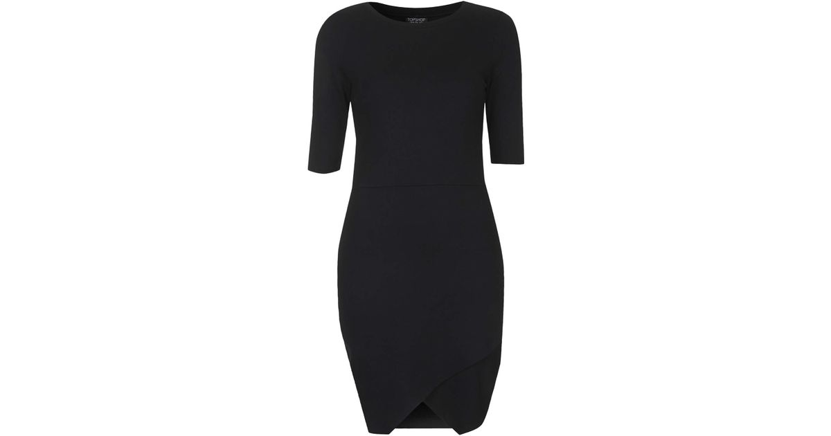 Lyst Topshop Jersey Wrap Bodycon Dress Black In Black