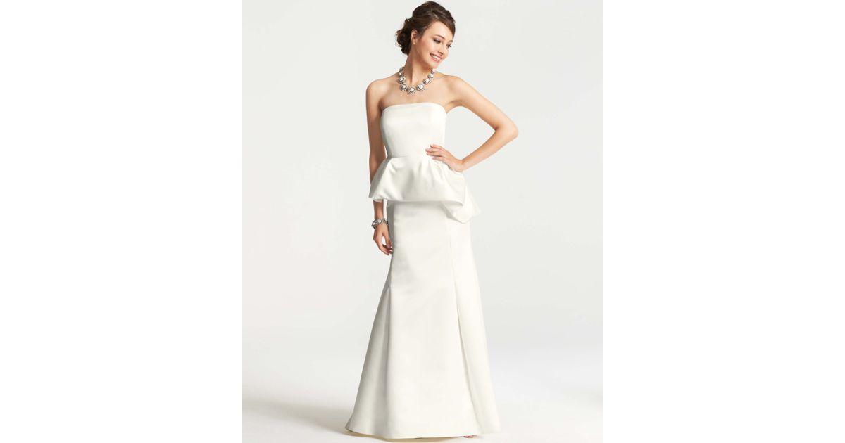 Ann taylor Petite Duchess Satin Strapless Peplum Wedding Dress in ...
