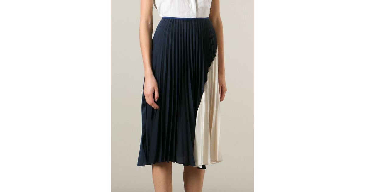 b3848468c Theory Pleated Skirt in Blue - Lyst