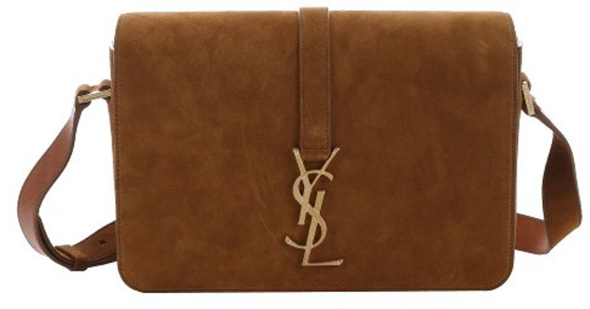 Unique Lyst - Saint Laurent New Ocre Suede 'Ysl' Monogram Large Shoulder  IT61