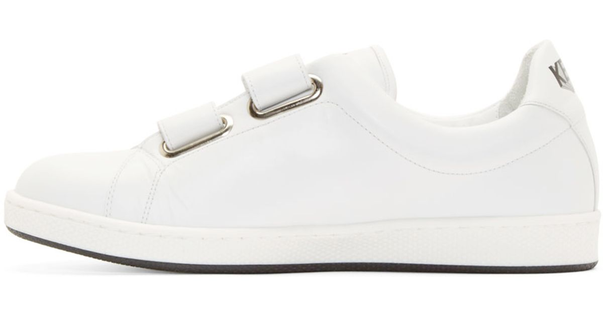 f88390c17112 Lyst - KENZO White Leather Velcro Sneakers in White