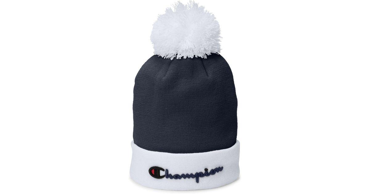 da8c04f30 Champion - Blue Life® Script Knit Pom - Lyst
