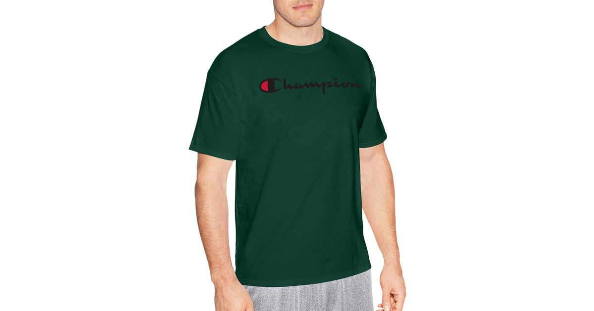 1843d805 Champion Cotton Script Logo Tee in Green for Men - Lyst