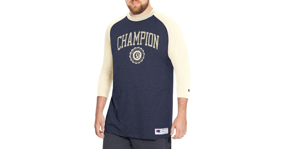 e09978edc Lyst - Champion Heritage Big   Tall Baseball Slub Tee in Blue for Men