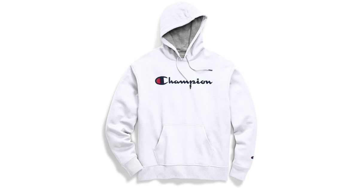 e04150886 Champion Script Logo Powerblend Hoodie in White for Men - Save 85% - Lyst