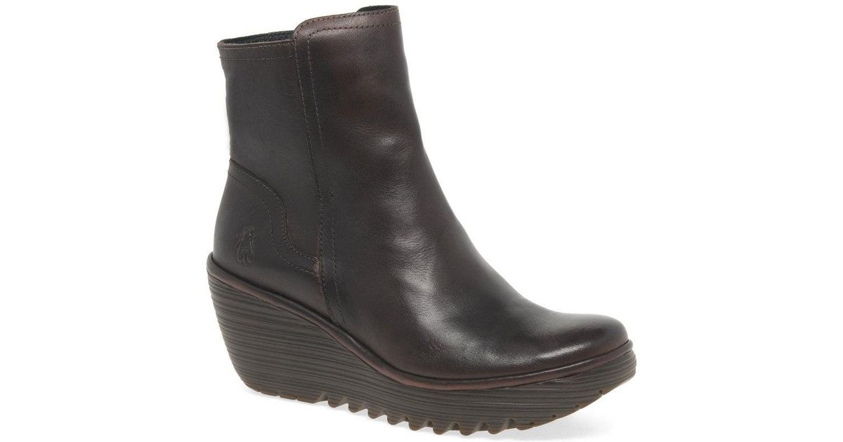 a0591f6bcf8 Lyst - Fly London Yeti Womens Leather Wedge Heel Ankle Boots in Brown