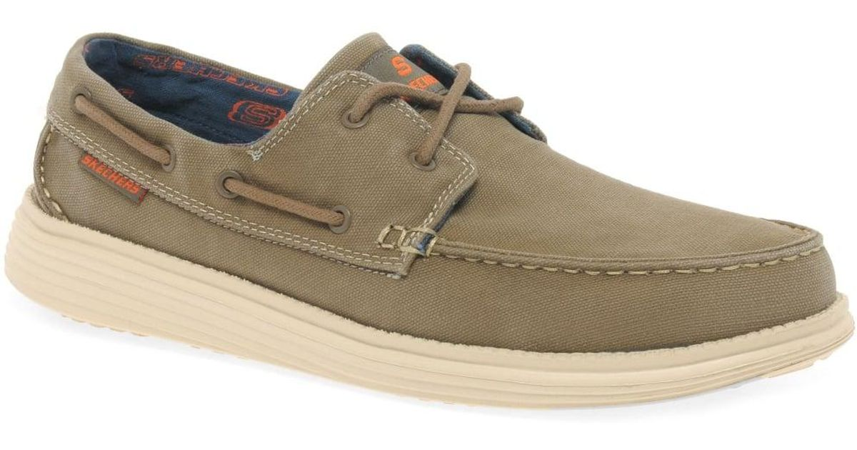 a25803e848cf Lyst - Skechers Status Melec Mens Vintage Wash Boat Shoes in Brown for Men