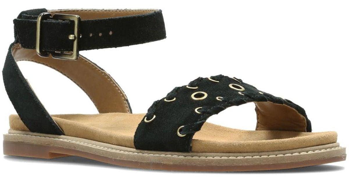 Sandals Clarks Lyst Amelia Black Corsio Womens Flat nO80wPk