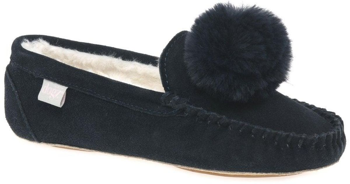 23032b5c2d53f Charles Clinkard Bessie Womens Pom Pom Cosy Lined Full Moccasin Slippers in  Blue - Lyst