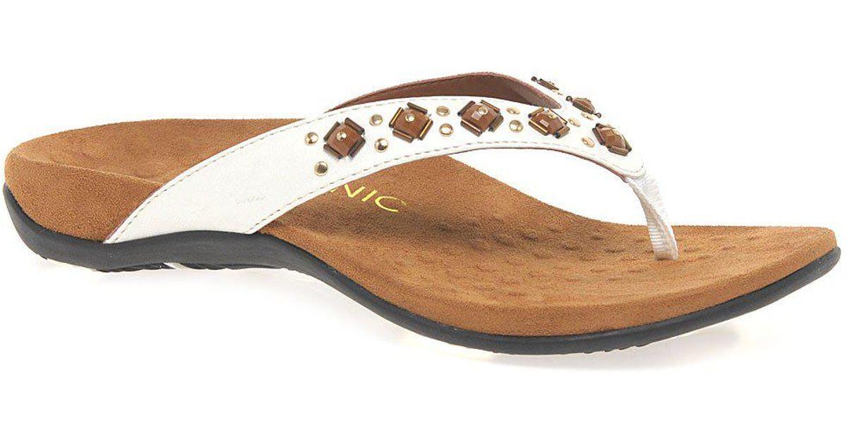7da7ffb190c2 Lyst - Vionic Floriana Womens Toe Post Sandals in White