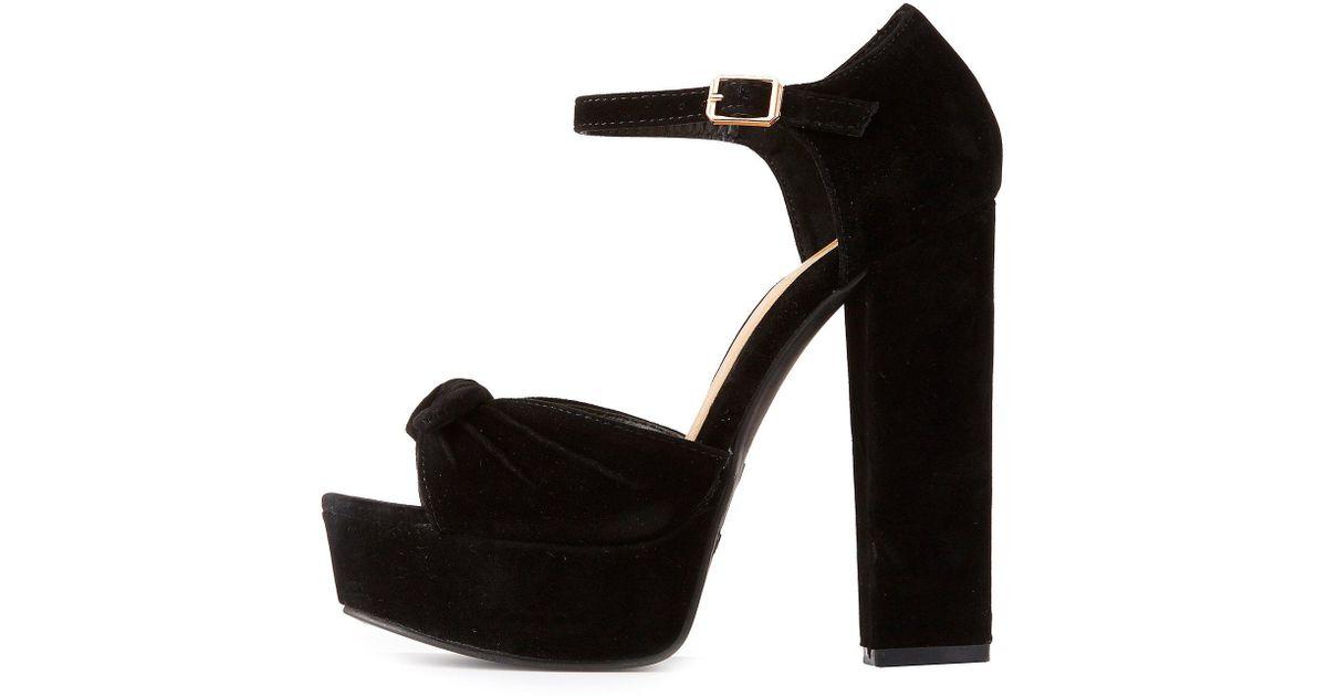 27ddd754890 Lyst - Charlotte Russe Bamboo Bow Ankle Strap Platform Sandals in Black