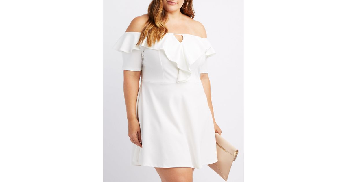 Lyst Charlotte Russe Plus Size Off The Shoulder Ruffle Trim Skater