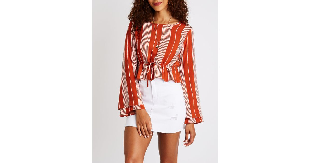 ccdfc44b794347 Lyst - Charlotte Russe Striped Bell Sleeve Top